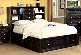 queen storage bed with bookcase headboard design hdsociety info