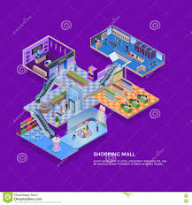 shopping mall isometric concept stock vector image 77102258