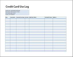 credit card use log template formal word templatesexercise log