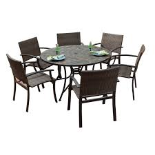 Stone Harbor Large Round Dining Table And Newport Arm Chairs - 7 piece outdoor dining set with round table