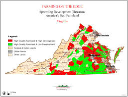 Virginia Map Counties by Farming On The Edge American Farmland Trust