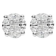 illusion earrings diamond diamond gold illusion large stud earrings at 1stdibs