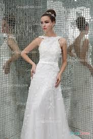 custom wedding dress crew neck sleeveless luxury flower beaded patterns long tulle