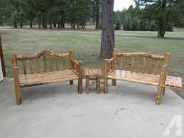 Rustic Log Benches - new rustic log benches with knotty scrub oak seat for sale in