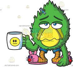a sad fur ball holding a coffee mug cartoon clipart vector toons
