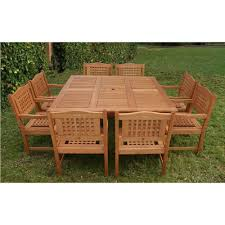 Square Wood Dining Tables Amazonia Victoria Square 9 Piece Teak Patio Dining Set