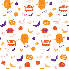 halloween ghost bat pumpkin seamless pattern background royalty