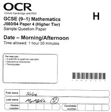 the new gcse 1 ocr paper 4 solve my maths