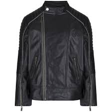 motorbike coats roberto cavalli kids boys black leather motorbike jacket with logo