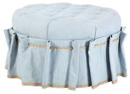 blue tufted circle ottoman with grommet skirt traditional