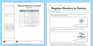 year 6 use negative numbers in context activity sheet 2 ks2