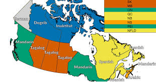 map if canada this map of canada shows the most common spoken language other