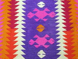 Colorful Kilim Rug Handwoven Turkish Kilim Rug In Bright Neon Colors Pink Red