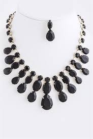 necklace with black stones images Stones gold accent statement necklace set jpg
