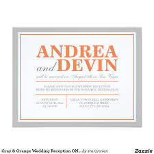 reception invitations gray and orange wedding reception only