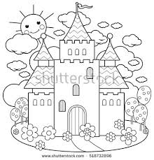 fairy tale castle flowers coloring stock vector 518732896