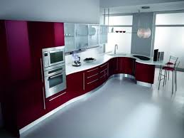 Red Kitchen White Cabinets Red Kitchen Curtain Ideas Wooden Solid Furniture Rounded Wall