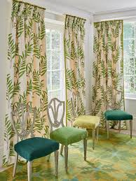 curtains in haywood leaf and chairs in palma from jane churchill