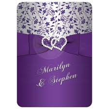 Purple And Silver Wedding 25th Wedding Anniversary Invitation Purple Silver Floral
