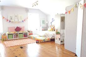pleasant attic playroom for kids decoration showing furniture