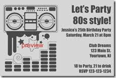 free 80s theme invitations archives