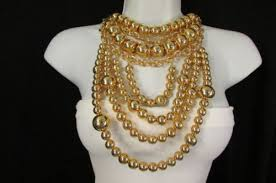 gold metal multi strands balls chunky chains 15