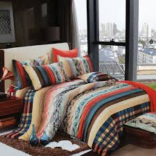 Exotic Comforter Sets Blue Brown Beige And Coral Vintage Boho Style Exotic Indian