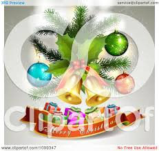 clipart merry christmas banner 3d gifts jingle bells holly