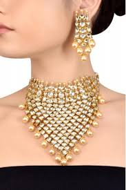 crystal pearl necklace set images Silver gold plated interlinked multi crystal pearl necklace set png