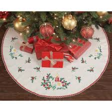 nob hill candlelight tree skirt sted cross stitch