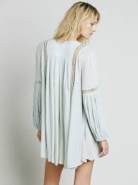 free people babydoll lace inset swing tunic in blue lyst