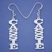 name earrings personalized sterling silver vertical dangling name earrings