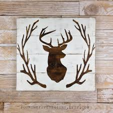 deer head antler wreath wood plank sign home decor rustic art