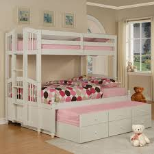 Kids Built In Desk by White Stained Wooden Kid Bunk Bed Having Trundle Built In Ladder