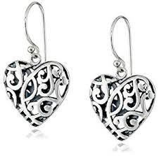filigree earrings sterling silver filigree heart drop earrings jewelry