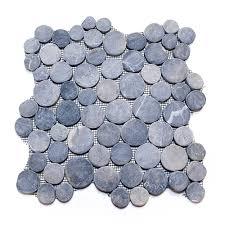pebble tile sliced grey flat stratastones