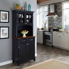 home styles black and stainless steel buffet with hutch 5001 0043
