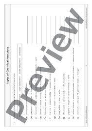 types of chemical reactions u2013 worksheet good science worksheets