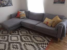 Ikea Sofa Chaise Lounge by Ikea Karlstad Three Seat Sofa And Chaise Longue Isunda Grey