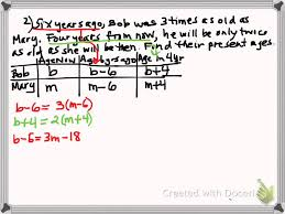 algebra solving age problems using system of equations