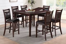 7pc Dining Room Sets Poundex F2238 F1389 Dark Brown Counter Height Dining Table 7 Pc Set