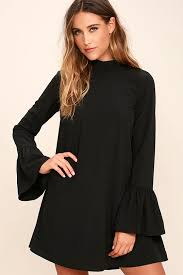 black shift dress chic black dress shift dress bell sleeve dress 54 00