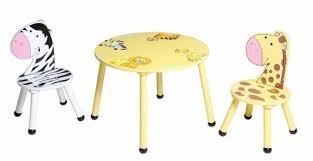 Childrens Kids Wooden Safari Animal Table 2 Chairs Furniture Set