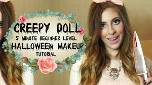 halloween makeup tutorial easy creepy doll easy 5 minute halloween makeup tutorial glitterati
