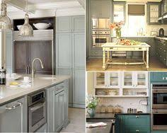 Gray Painted Kitchen Cabinets by Gray Kitchen Boasts Gray Cabinets With Glass Front Upper Cabinets