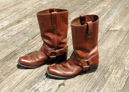 mens brown leather motorcycle boots vintage 60s brown leather motorcycle boots harness engineer