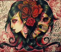 female illustration sugar skulls tattoo tattoos vintage