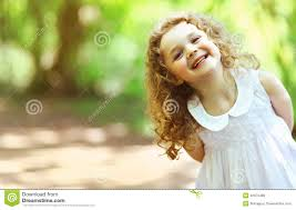 cute baby shone with happiness curly stock photo