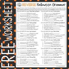 free reverse halloween grammar worksheet by the classroom sparrow