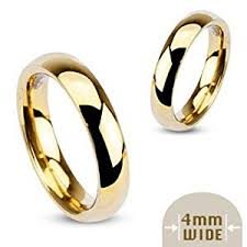 4mm ring 4mm stainless steel yellow gold plated high polished comfort fit